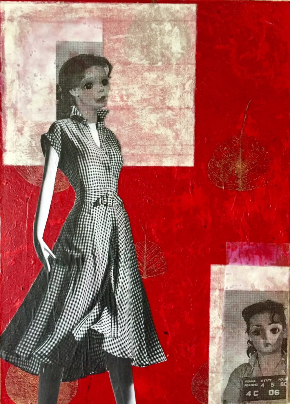 """The Rise And ""Fall Of Kitty Hanks"", collage, 14 x 10.5"", $490"
