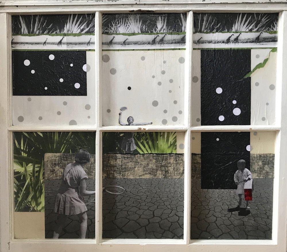 """Toys"", collage, 27 x 31"", $1,000"