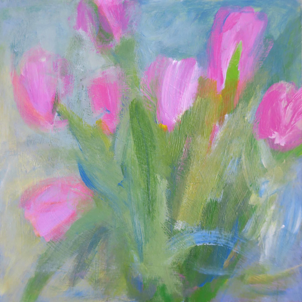 """Pink Tulips"", 8 x 8"", $325 (framed)"