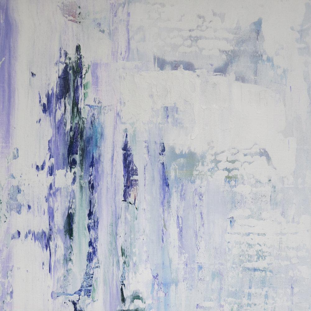 """Snow On My Window"", mixed media, 16 x 16"", $600 (framed)"