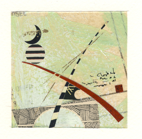 """Retro GPS I, antique paper collage, 10 x 10"", $195"
