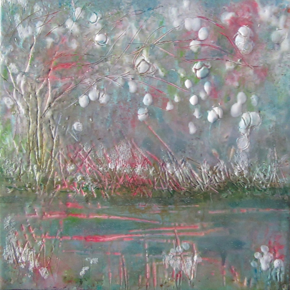 """""""Spring Blossoms 1"""", mixed media on panel, 6"""" x 6"""", $100"""