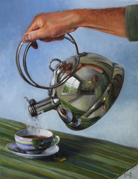 """""""Spot Of Tea"""", oil on canvas, 19"""" x 15"""", $1,800 (framed)"""