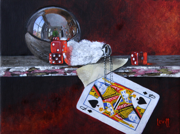 """Luck Of The Draw"", oil on canvas, 14"" x 17"", $900 (framed)"