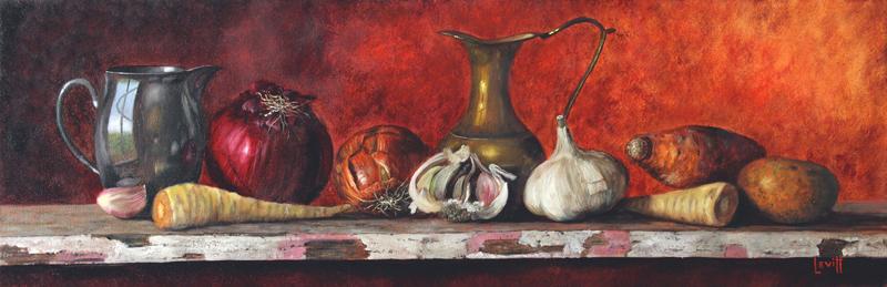 """The Cabin Shelf"", oil on canvas, 12"" x 28"", $1,300 (framed)"