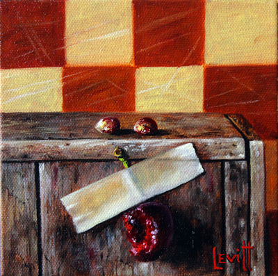 "Copy of ""Half A Cherry"", oil on canvas, 6"" x 6"", $450"