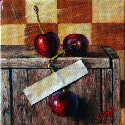 "Copy of ""Three Cherries"", oil on canvas, 6"" x 6"", $450"