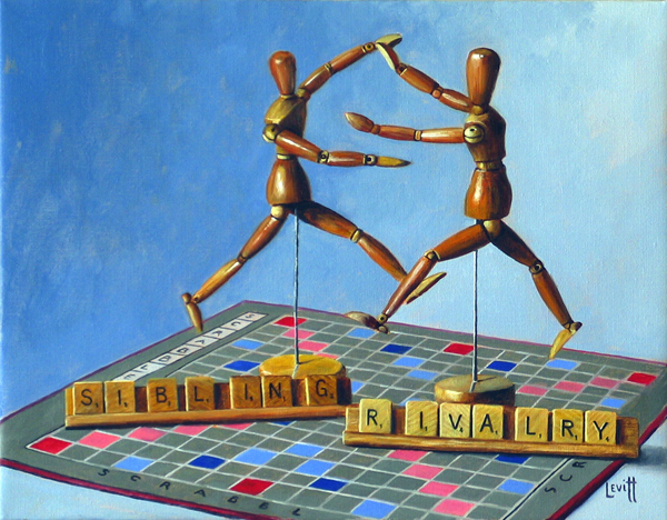 """""""Sibling Rivalry"""", oil on canvas, 13"""" x 15"""", $950 (framed) SOLD"""