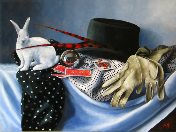 "Copy of ""The Disappearing Act"", oil on panel, 25"" x 31"", $3,500 (framed)"