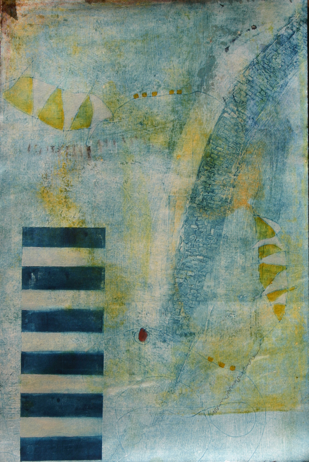 """Flecha Amarilla"", mixed media, 25"" x 18"", $475"