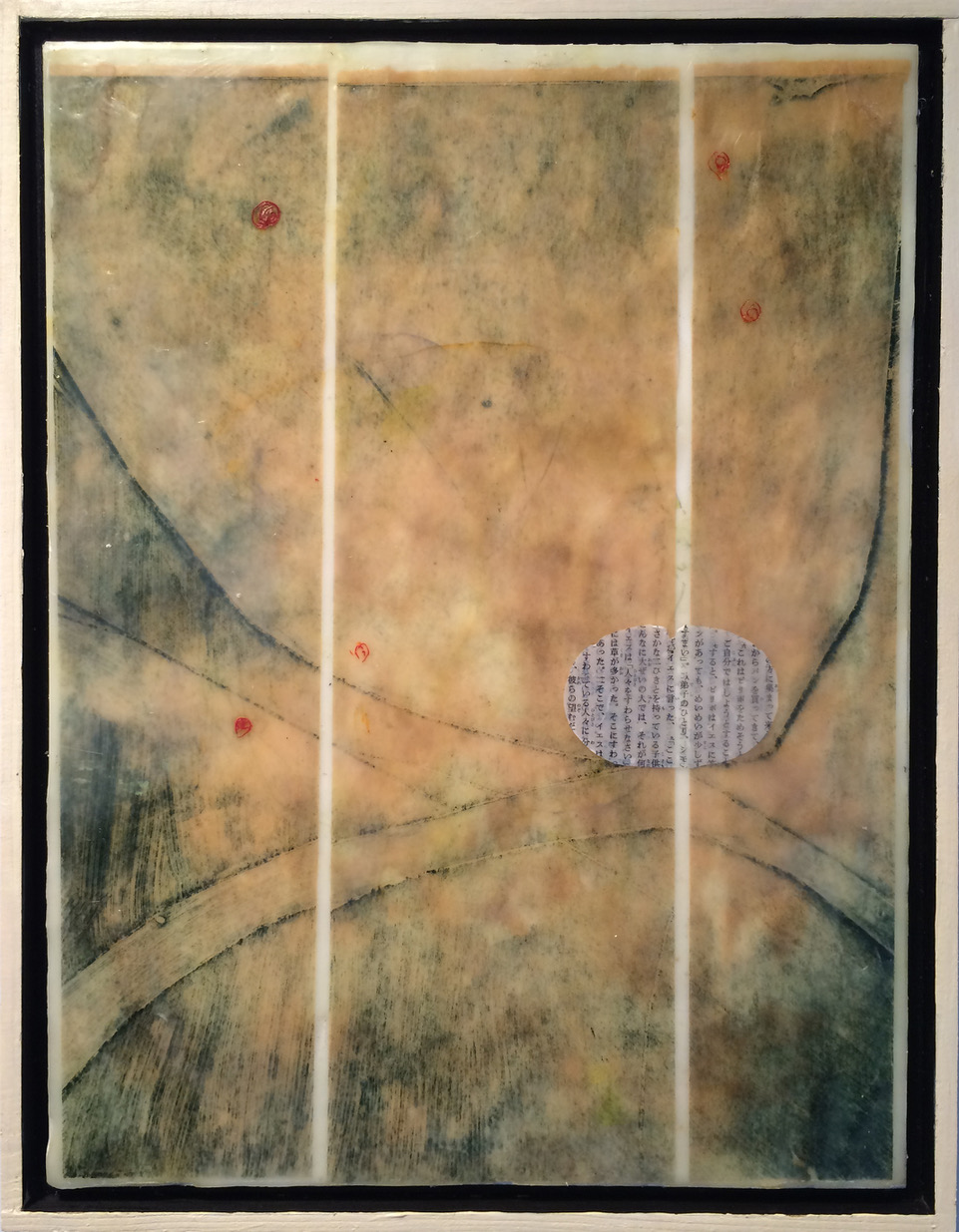 """Hourglass"", encaustic, 13"" x 9"", $225"