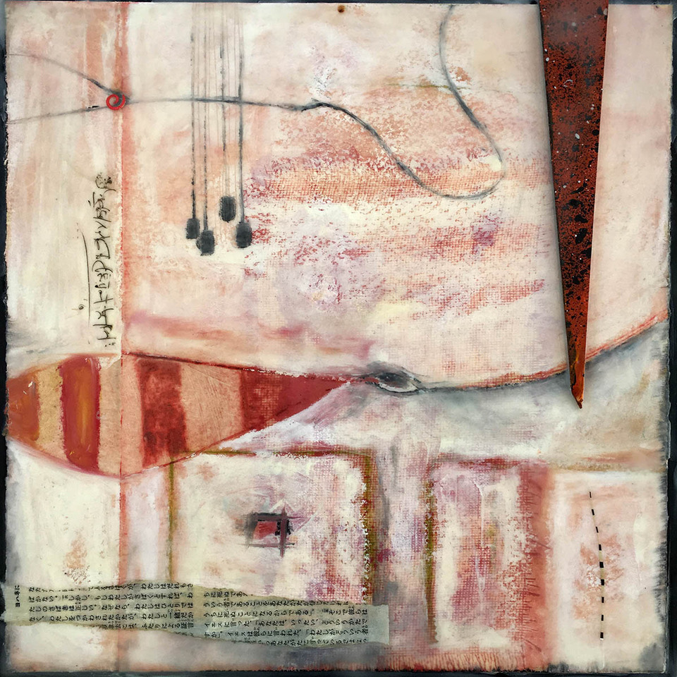 """Conversation In The Shed"", encaustic, 10"" x 10"", $260"