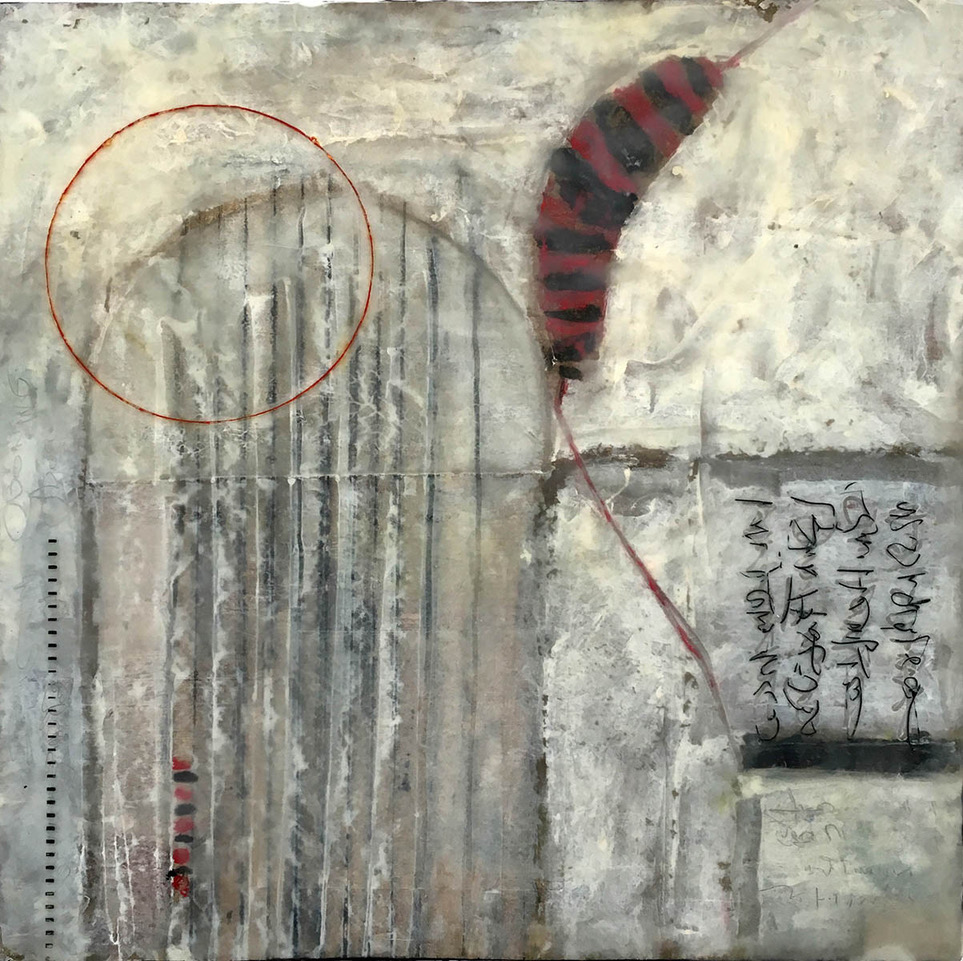 """Day's Dispatch"", encaustic, 9"" x 9"", $225"