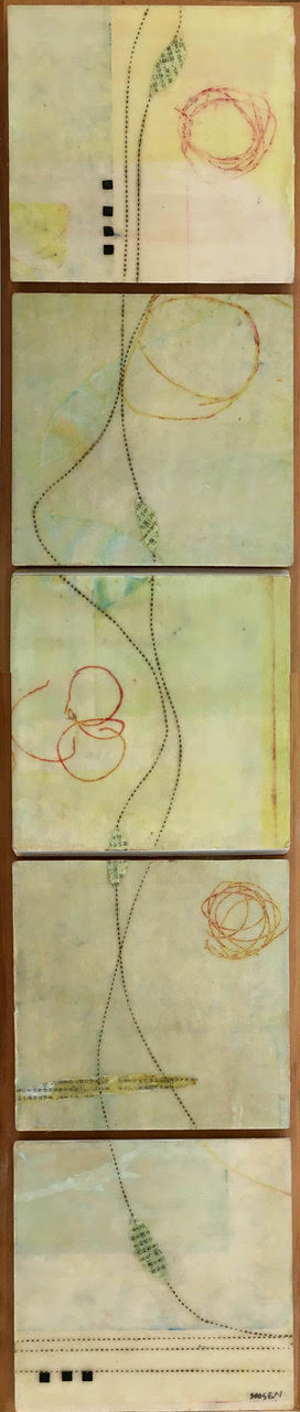 """Suspended Message"", encaustic, 26"" x 6"", $380"