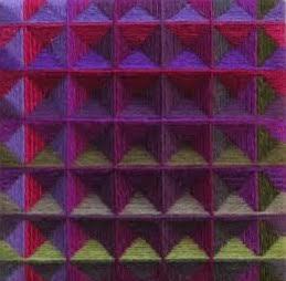 """""""Small Square VI"""", fiber, 6"""" x 6"""", $250"""