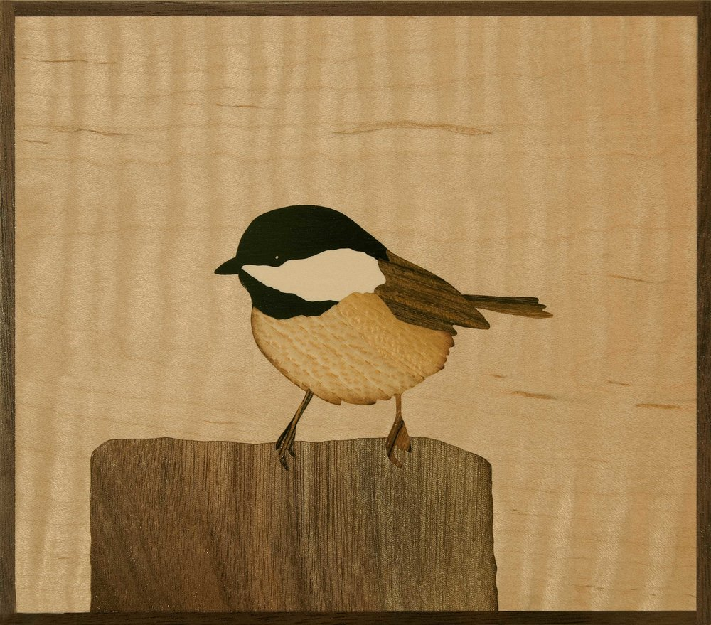 """Chickadee"", wood, 6"" x 7"", $425"