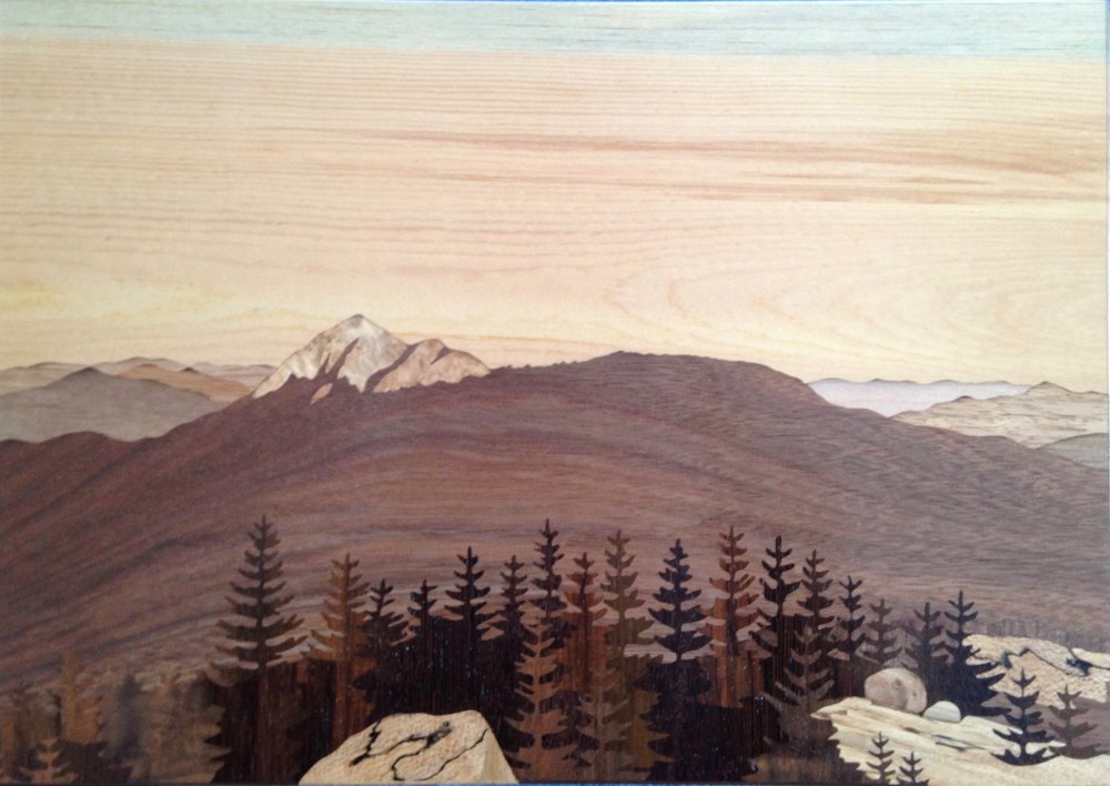 """Chocorua From Middle Sister"", wood, 8.5"" x 12"", $1,600"