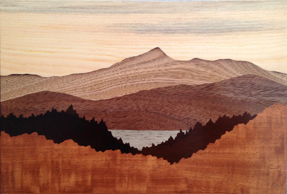 """Mount Chocorua"", wood, 6"" x 9"", $650"
