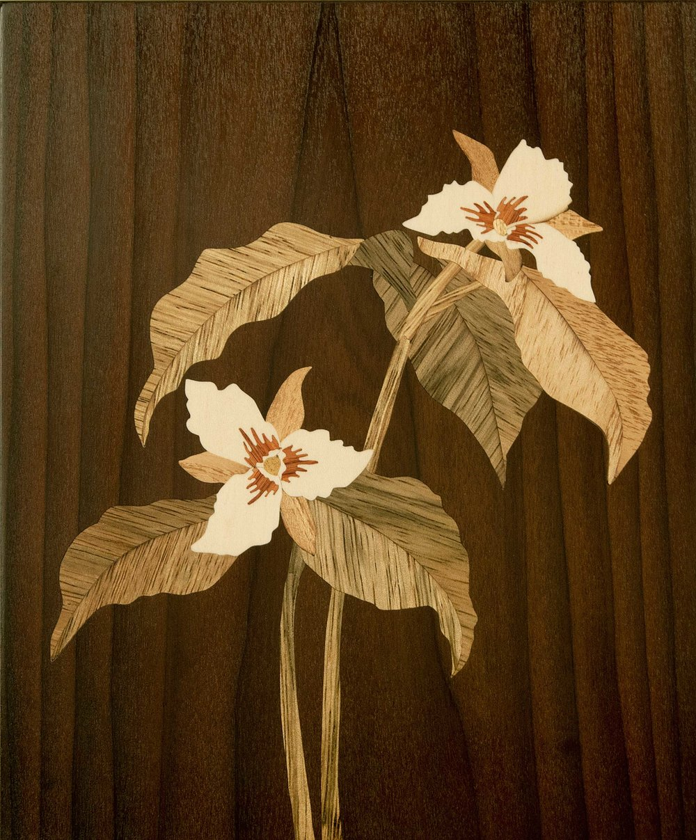 """Painted Trillium"", wood, 7.75"" x 6.75"", $700"