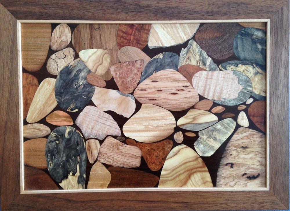 """River Stones"", wood, 9"" x 12"", $1,300"