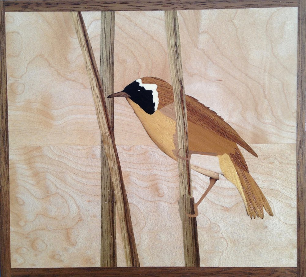 """Common Yellowthroat"", wood, 6"" x 7"", $425"