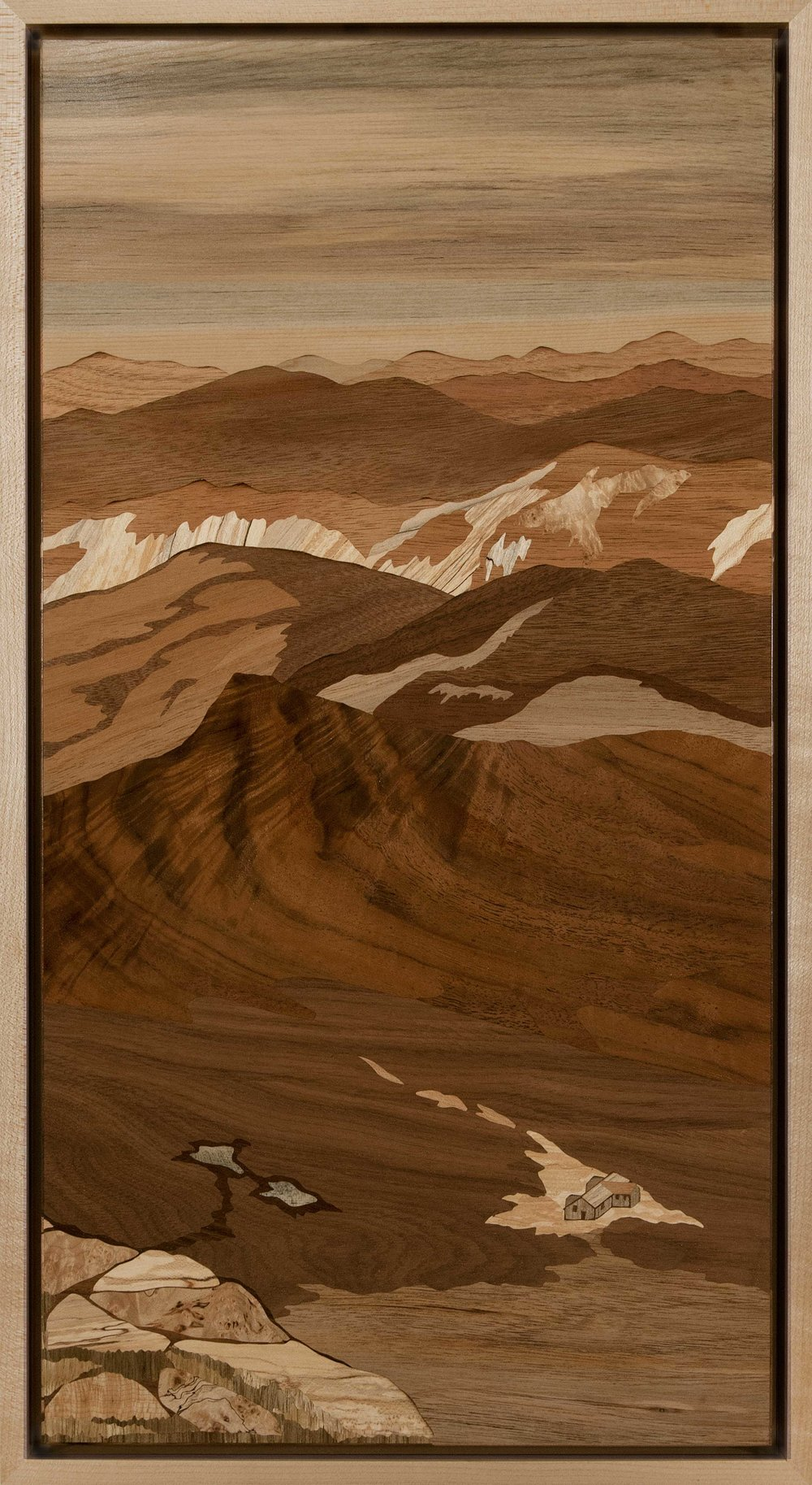 """Lakes Of The Clouds Hut, Mt. Monroe"", wood, 11.5"" x 21"", $3,800"
