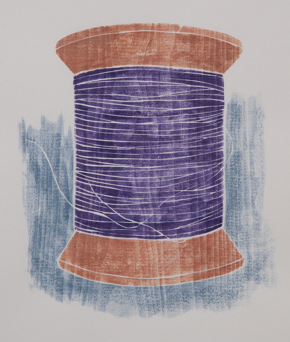 """Old Spool"", white line woodcut, 10"" x 9"", $350 (framed)"