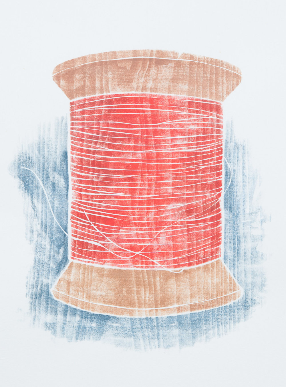 """Old Spool"" (red), white line woodcut, 10"" x 9"", $350 (framed)"