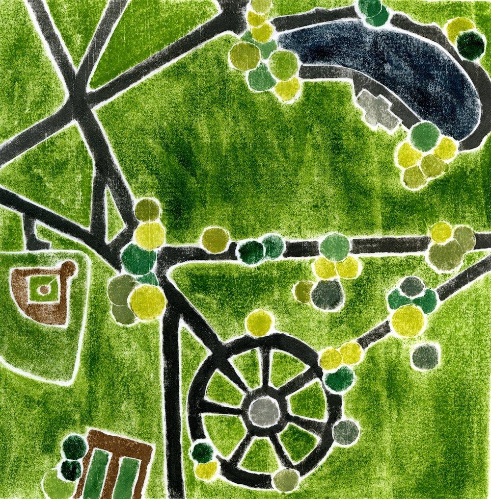 """""""Boston Common"""", white line woodcut, 6"""" x 6"""", $220 (framed)"""
