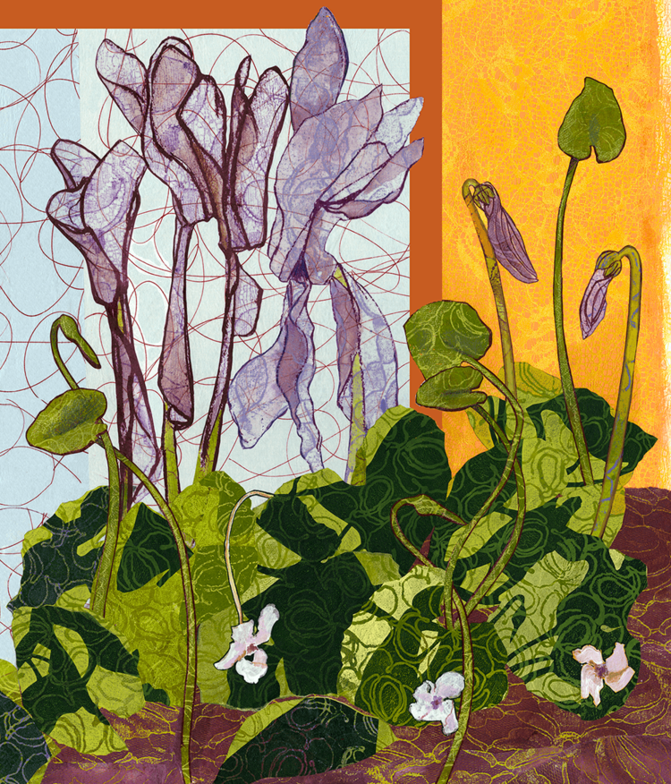 """Cyclamen Plant III"", monoprint, lithography, collage, 32"" x 28"", $1,200 (framed)"