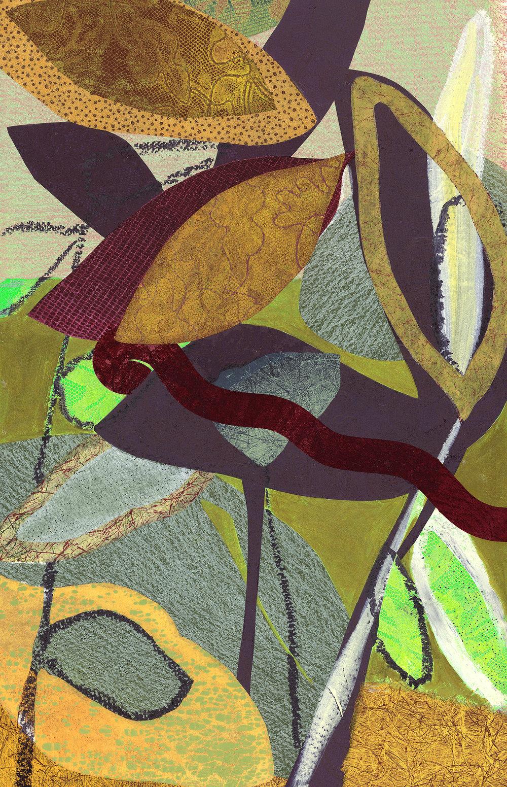"""Pods"", monoprints, collage, oil stick, 25.5"" x 19.5"", $700 (framed)"