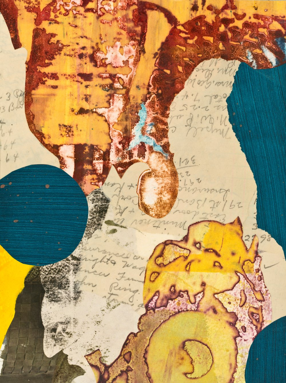 """""""Edna's Accounts - Blue Dot, Yellow Dot"""", mixed media collage, 12"""" x 14"""", $350 (framed)"""