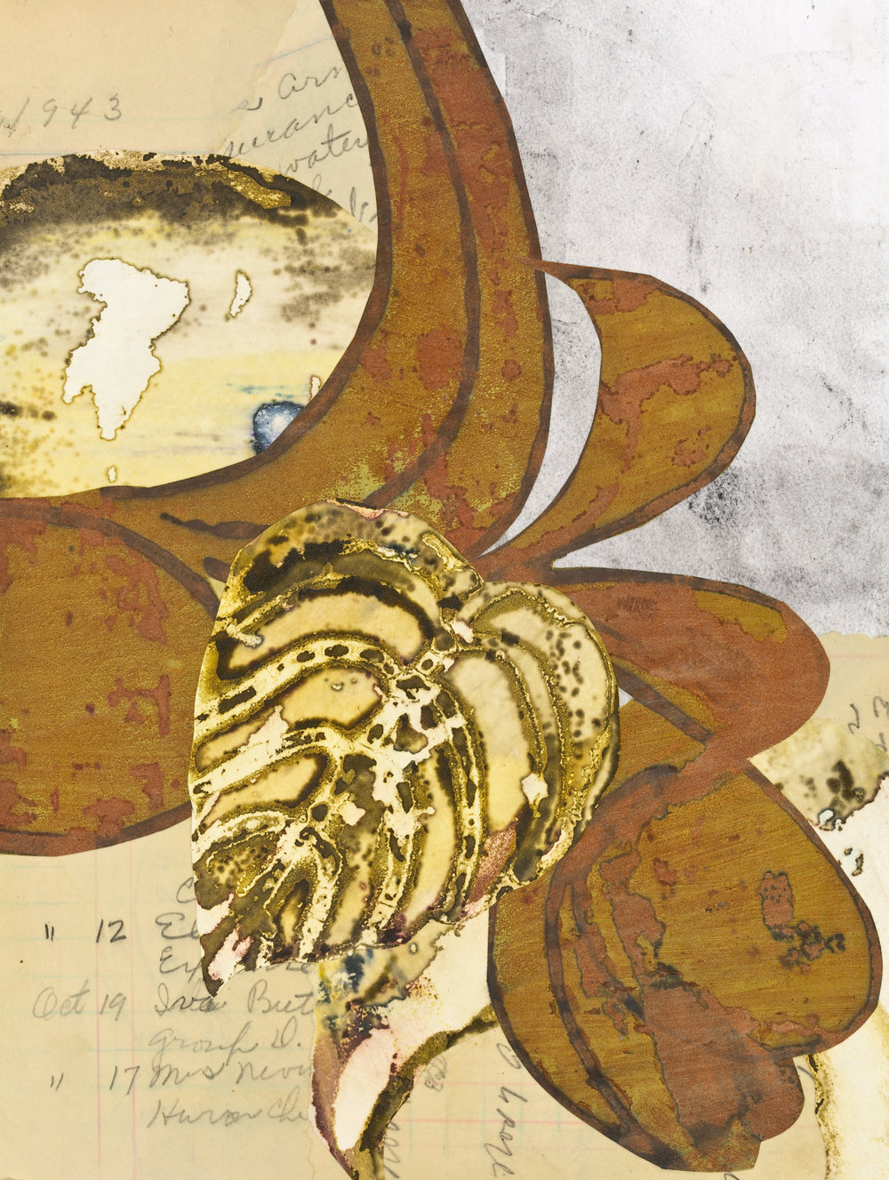 """""""Edna's Accounts - Brown Leaf"""", mixed media collage, 12"""" x 14"""", $350 (framed)"""