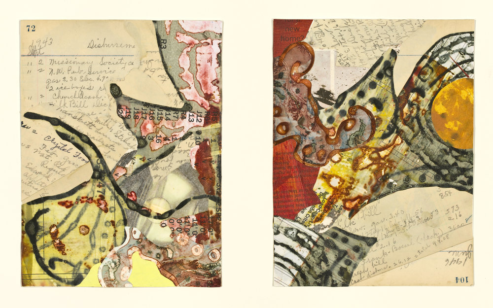 """""""Edna's Accounts - Page 72, Page 104"""", mixed media collage, 14"""" x 18"""", $525 (framed)"""
