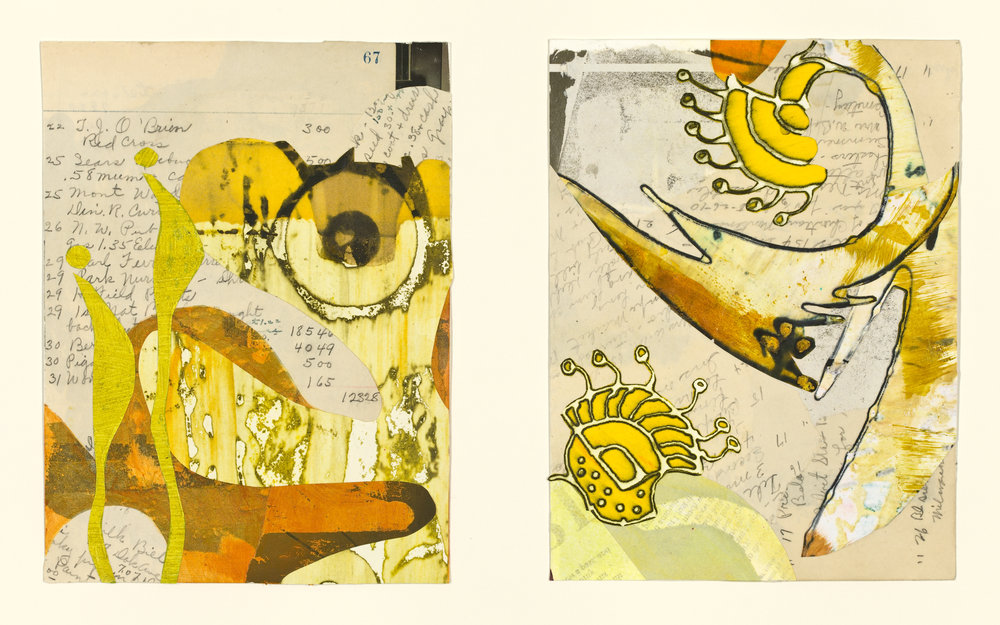 """""""Edna's Accounts - Pages 67-68 """", mixed media collage, 14"""" x 18"""", $525 (framed)"""