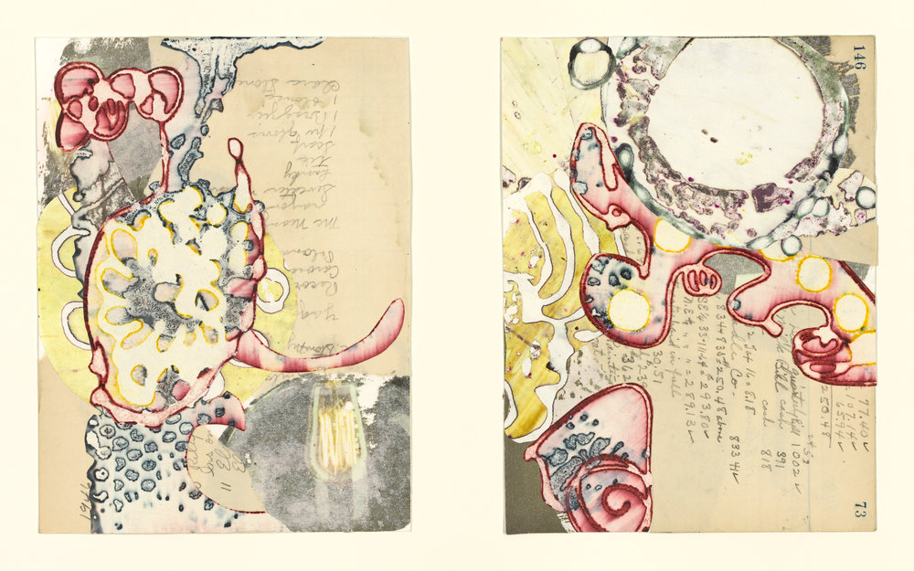 """""""Edna's Accounts - Pages 72-73 """", mixed media collage, 14"""" x 18"""", $525 (framed)"""