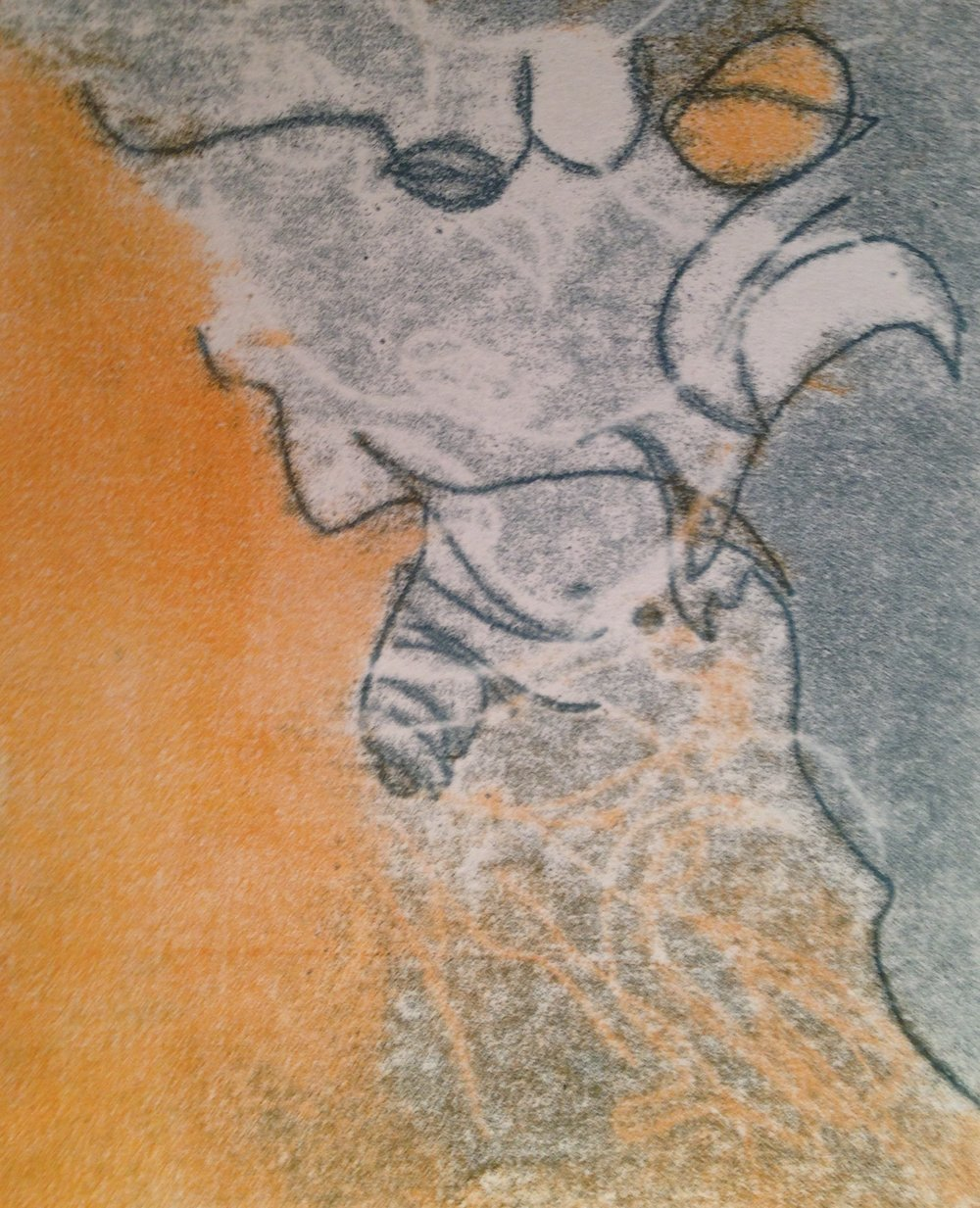 """""""Guy With Orange Nose"""", monotype, 9.5"""" x 12"""", $125 (framed)"""
