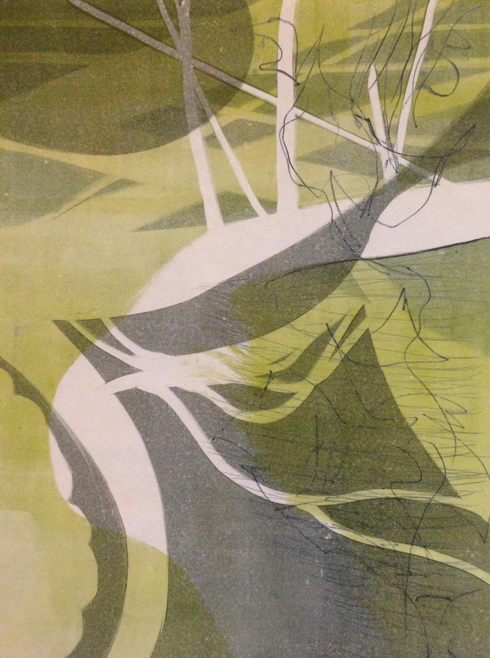 """""""River Walk"""", monotype, 12"""" x 16"""", $95 (unframed)"""