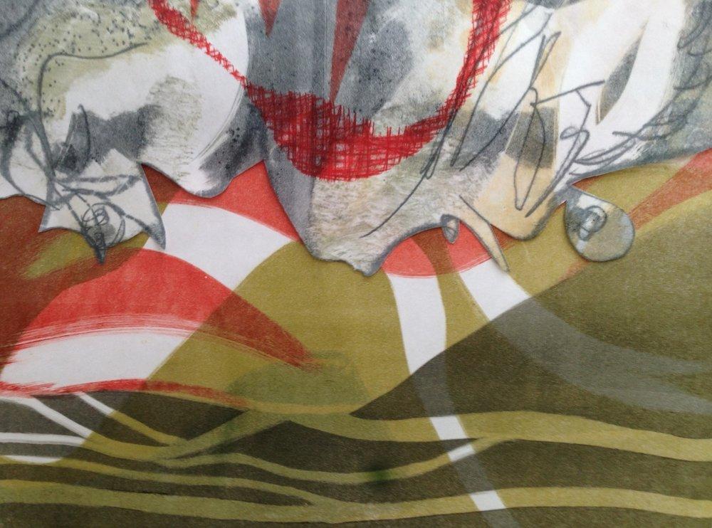 """Warrior Sky"", monotype collage, 12"" x 16"", $95 (unframed)"
