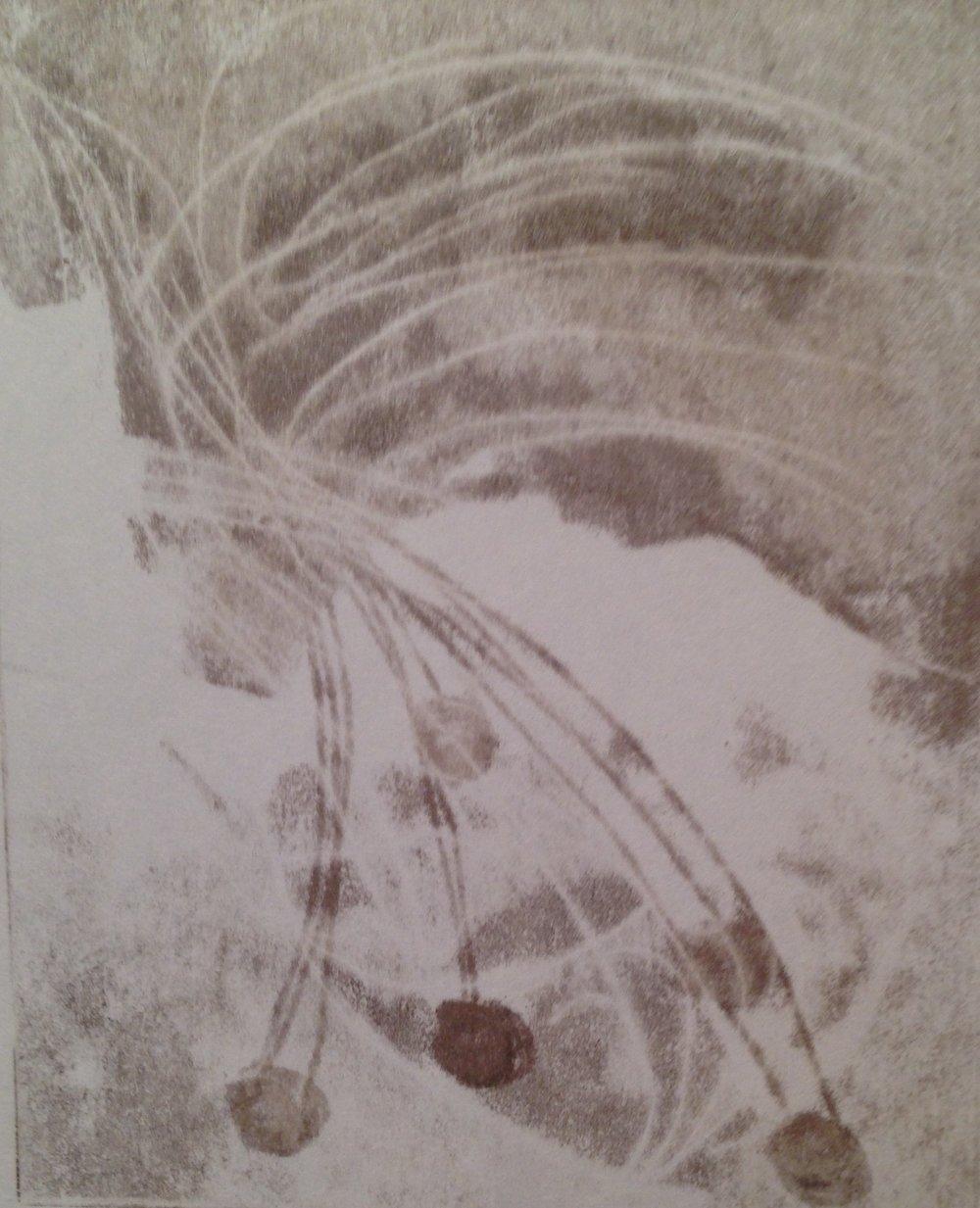 """Winter Berries"", monotype, 9.5"" x 12"", $125 (framed)"