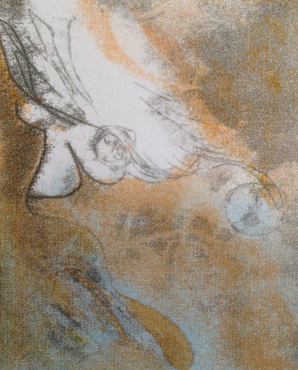"""""""Angel Landing"""", monotype, 9.5"""" x 12"""", $125 (framed)"""