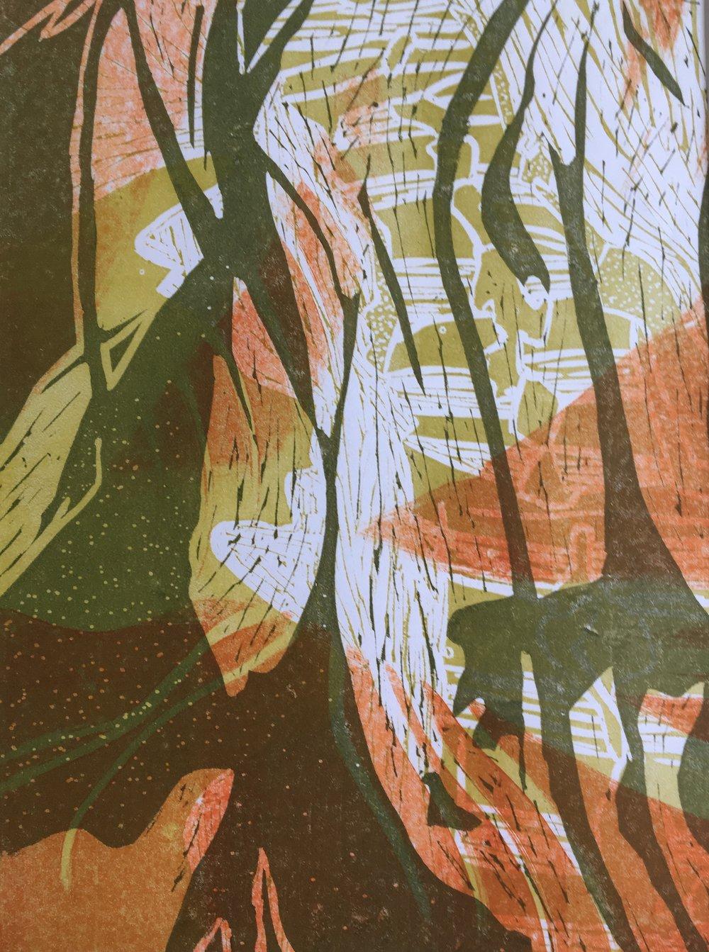 """Autumn Rain"", relief monoprint, 9"" x 12"", $55 (unframed)"