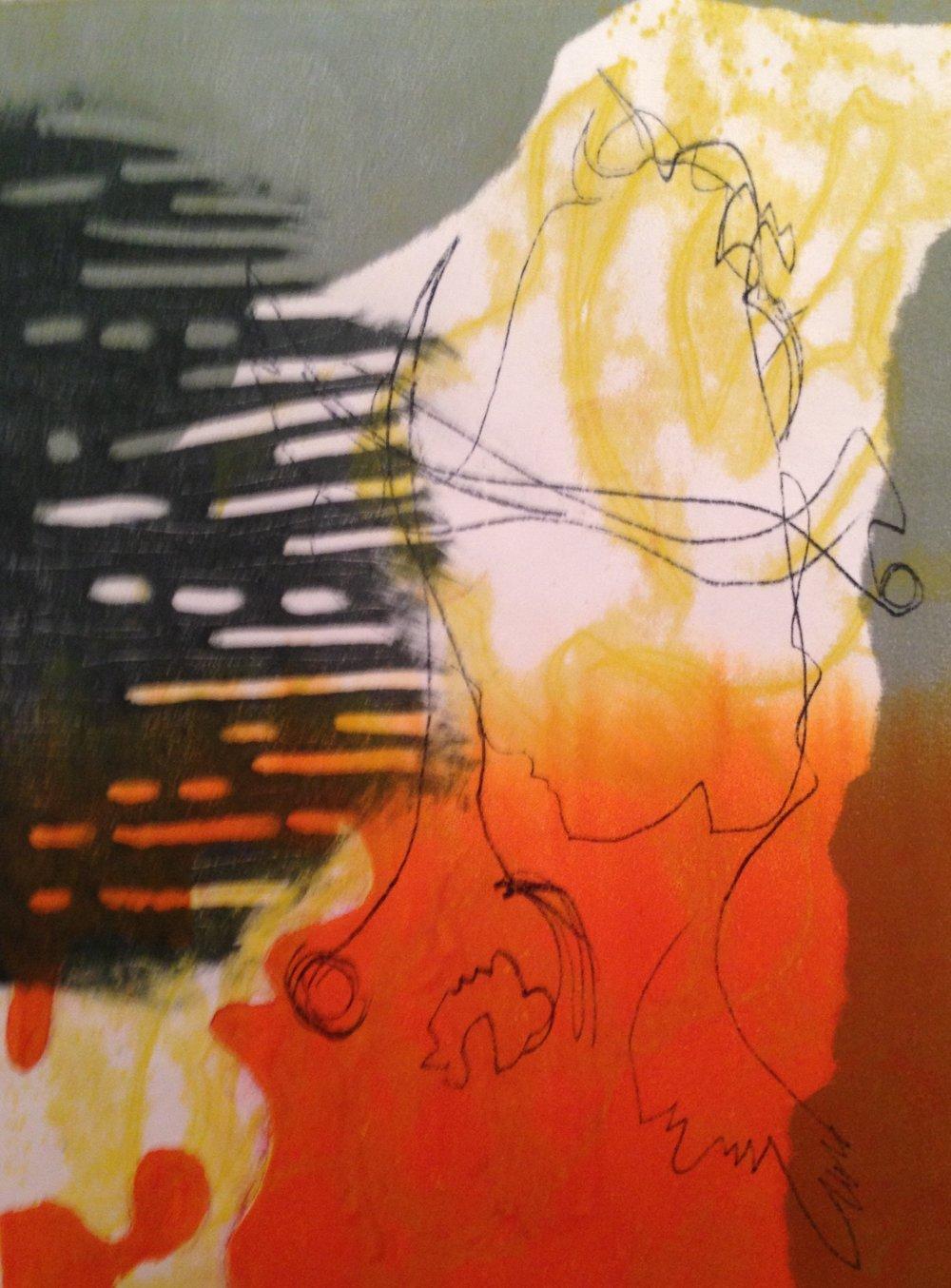 """""""Breath Of Fire"""", monotype, 9"""" x 12"""", $55 (unframed)"""