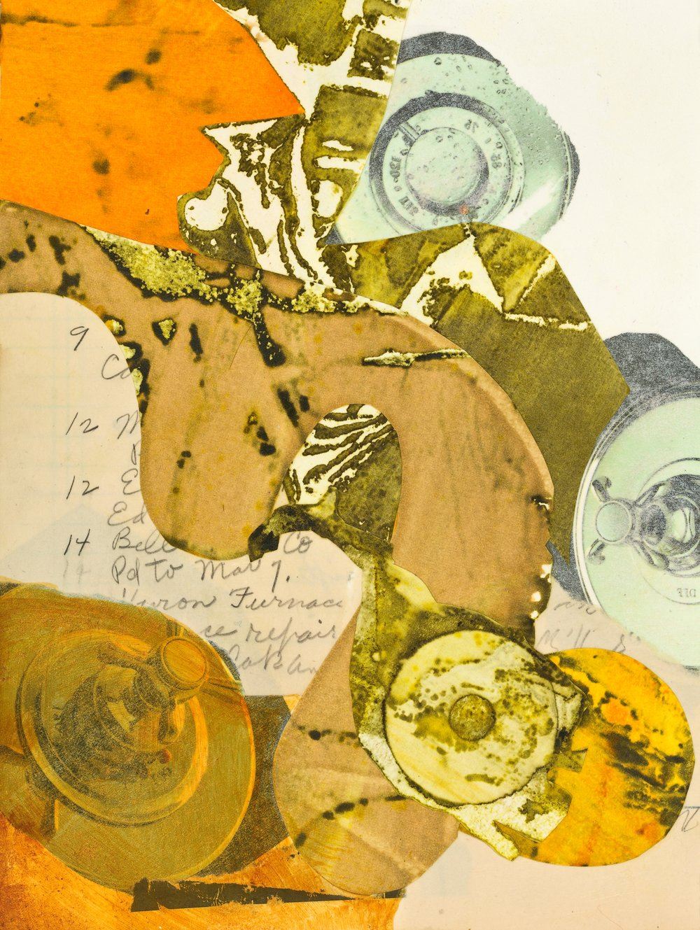"""""""Edna's Accounts - 9,12,12,14 """", mixed media collage, 12"""" x 14"""", $350 (framed)"""