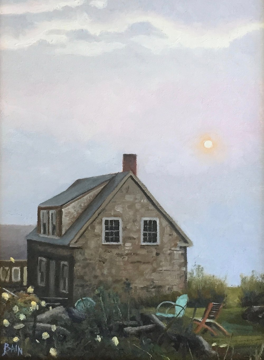 """A Weak Sun, Monhegan"", oil on board, 12"" x 16"", $725 (framed)"