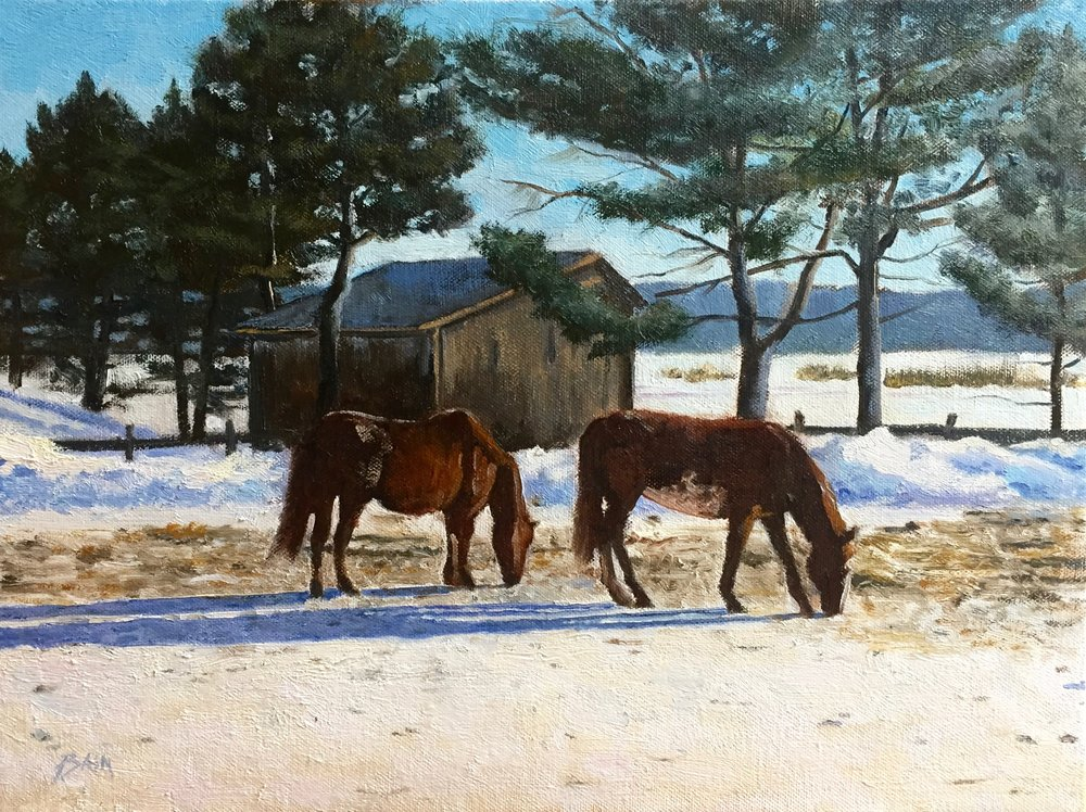 """A Cold Breakfast"", oil on canvas, 12"" x 16"", $725 (framed)"