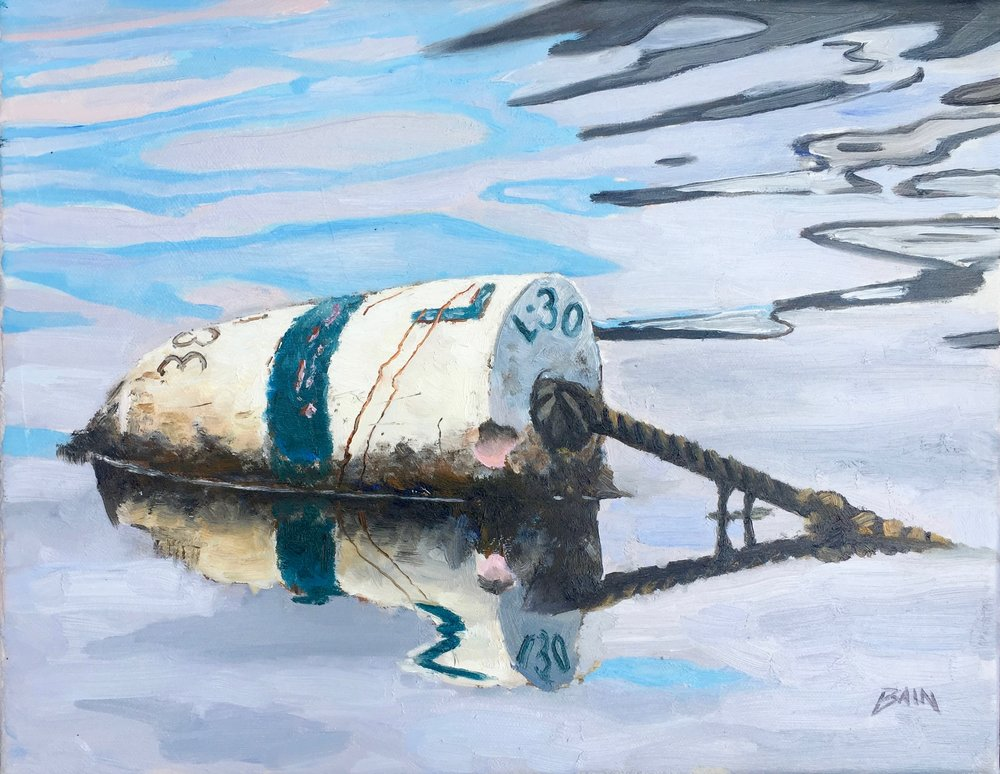 """Buoy With Reflection"", oil on canvas, 11"" x 14"", $525 (framed)"