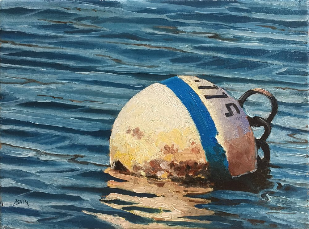 """Buoy With Blue Stripe"", oil on canvas, 9"" x 12"", $400 (framed)"