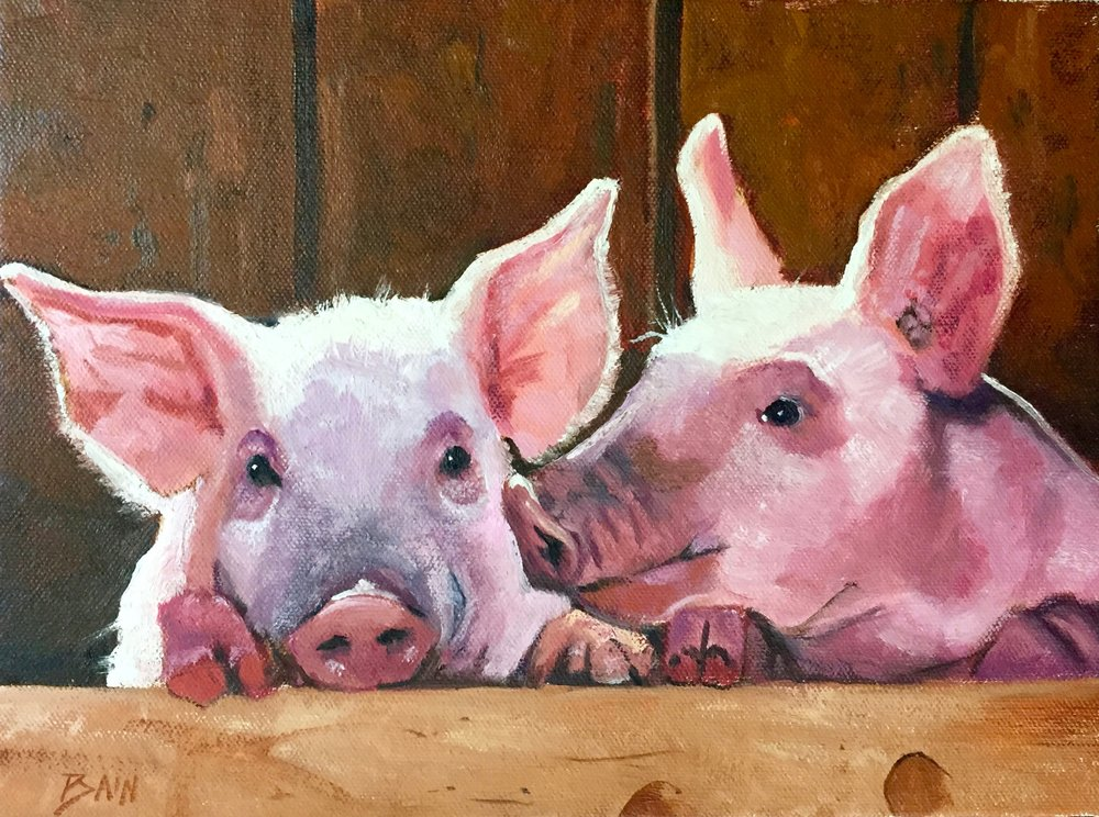 """Double Pink"", oil on canvas, 9"" x 12"", $400 (framed)"