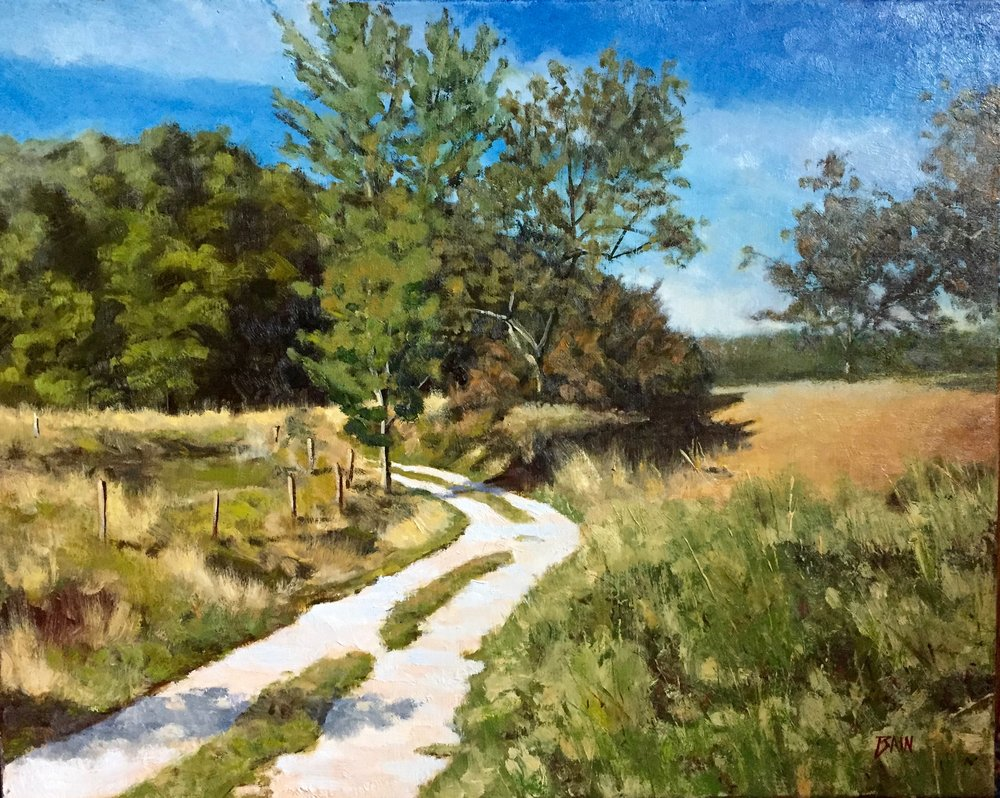 """Farm Road, July"", oil on canvas, 16"" x 20"", $850 (framed)"